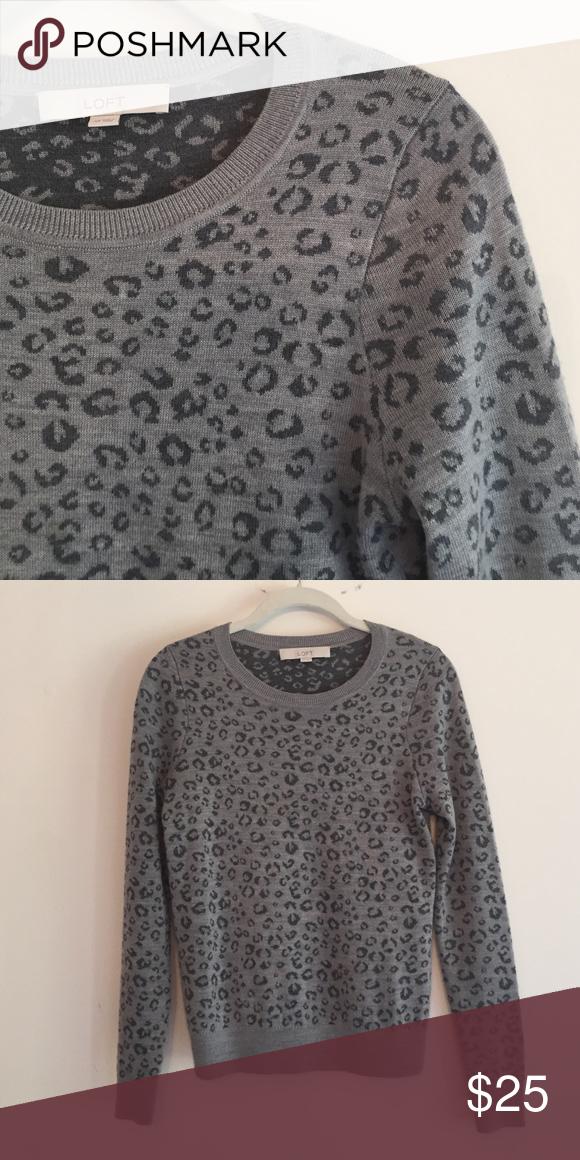 LOFT leopard print sweater Loft leopard print sweater. Great used condition LOFT Sweaters Crew & Scoop Necks
