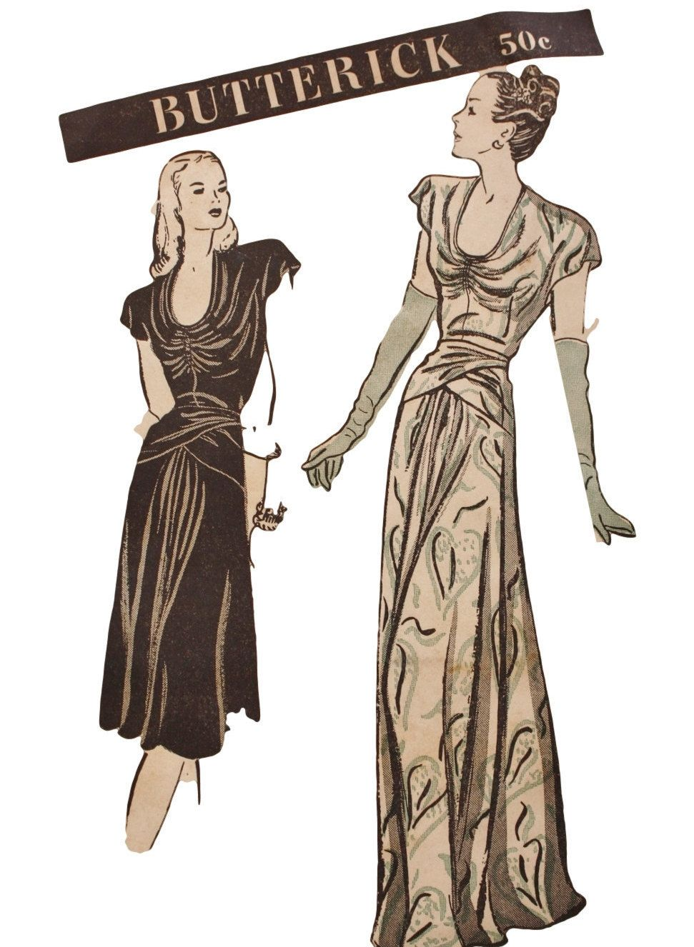 S evening gown draped dress butterick vintage sewing