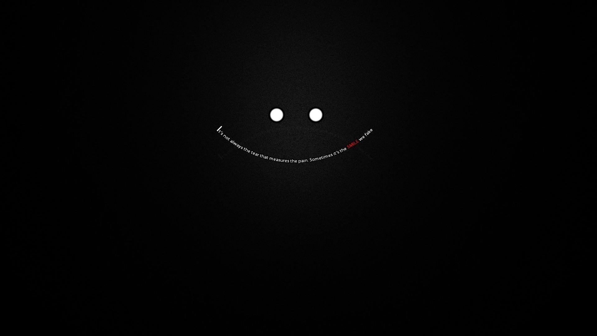 Wallpaper fake, smile, pain, depression quote, inside, black • Wallpaper For You HD Wallpaper For Desktop & Mobile