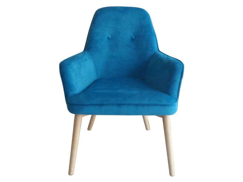 Fauteuil OCEANE coloris bleu - Vente de Fauteuil - Conforama idée - conforama chaises salle a manger