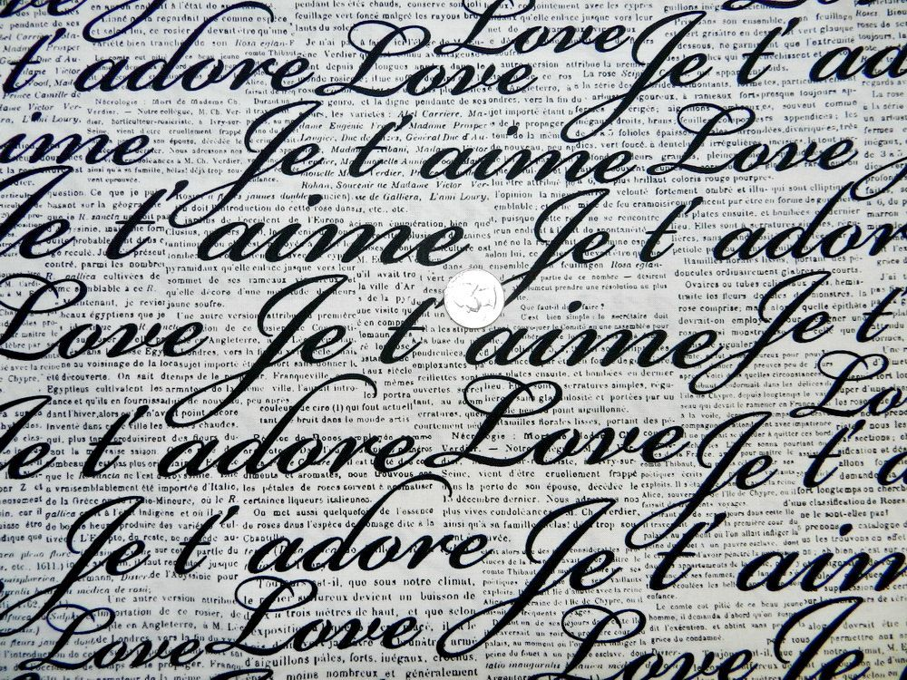 excellent french script fabric by the yard. French and English Love Words  Fabric By The Yard 8 95 via Etsy Yards