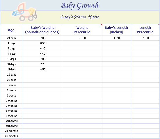 Baby Growth Chart  Templates  OfficeCom  Baby Hinton