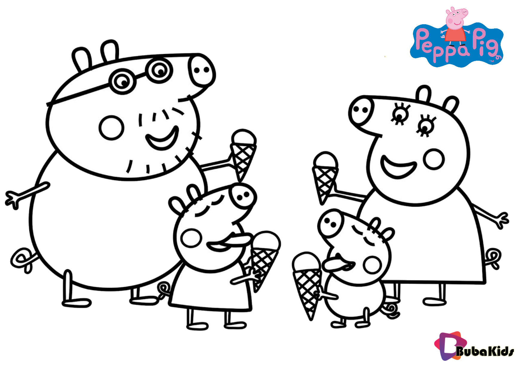 Peppa Pig Family And Ice Cream Coloring Pages Collection Of Cartoon Coloring Pages For Tee Peppa Pig Coloring Pages Peppa Pig Colouring Cartoon Coloring Pages