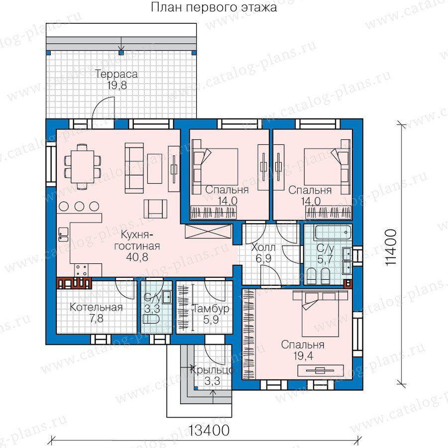 58-70 - Проект одноэтажного дома из газобетона с террасой ...