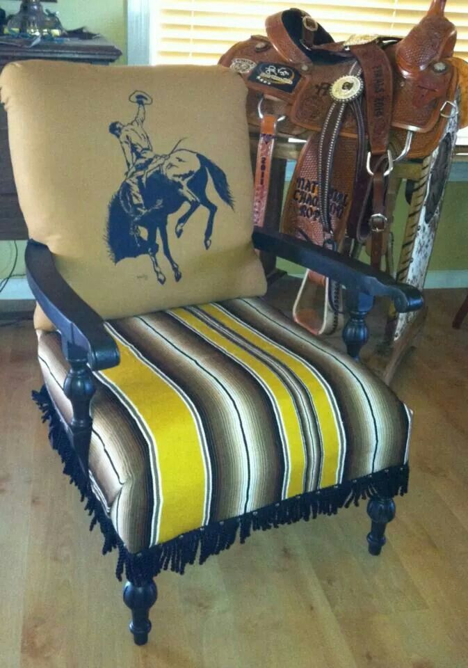 Vintage chair with hand painted canvas back, upholstered in old ...