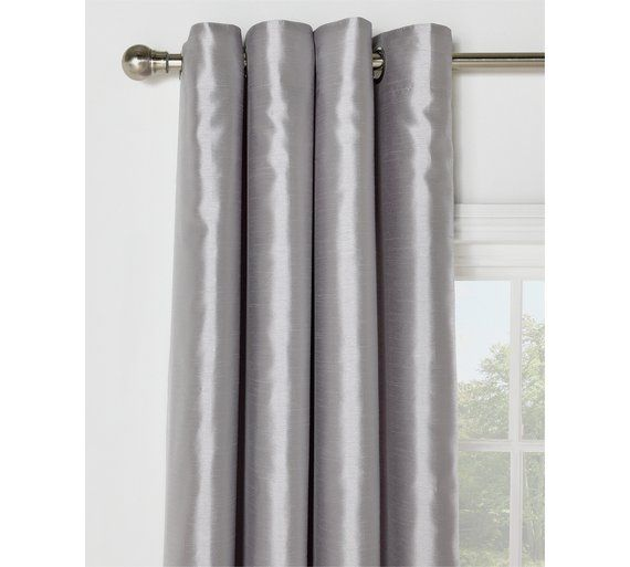 Buy Collection Ella Faux Silk Lined Curtain Set 168x229cm Silver At Argos Co Uk Visit Argos Co Uk To Shop Online For L Lined Curtains Curtains Stock Clearance