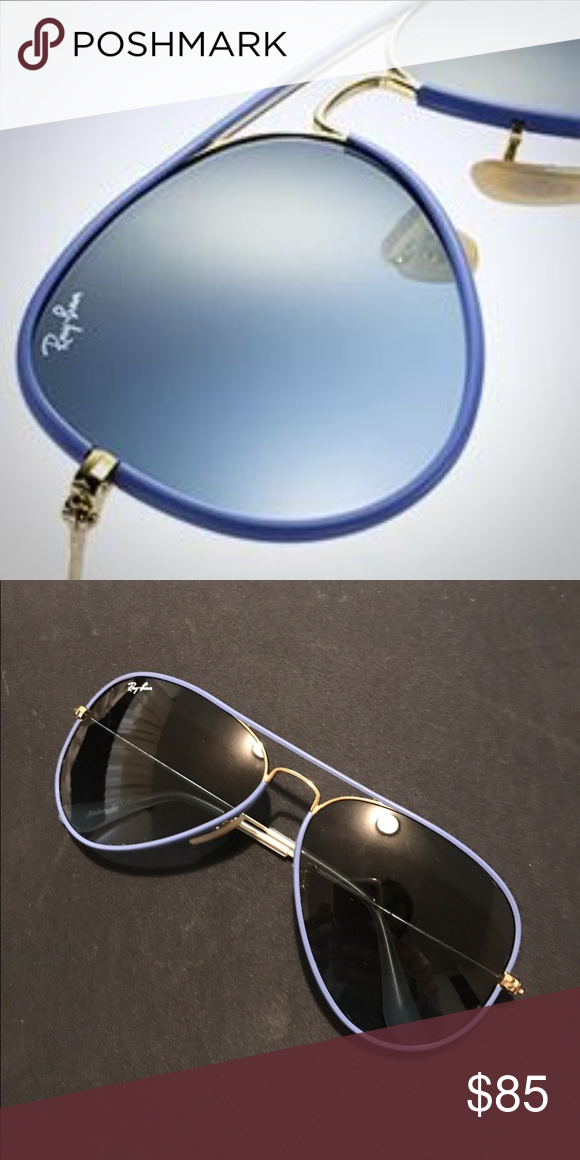 Ray bans- Blue and gold frame aviators