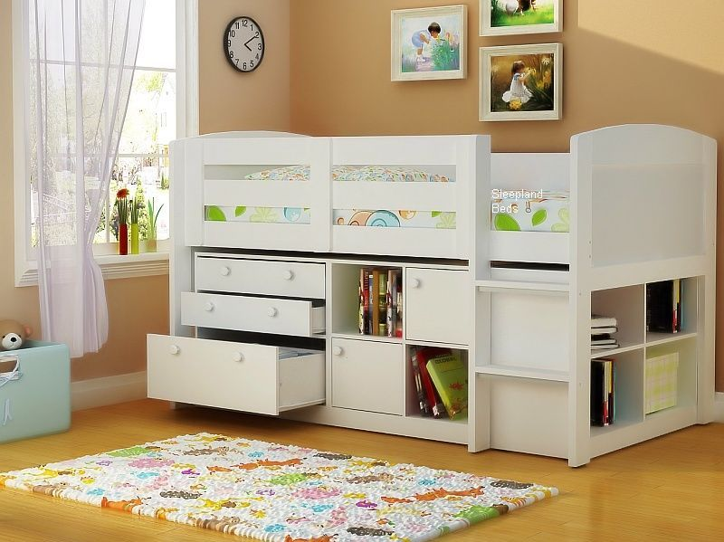 White Neptune Midsleeper Bed With Storage Cupboards Drawers And Cube Bookcase