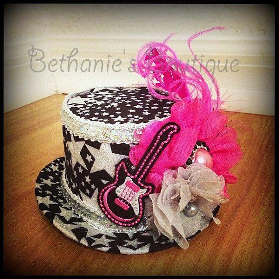 7d1b6508f9886 Rock Star Guitar MINI Top Hat OTT Pink and by BethaniesBowtique ...