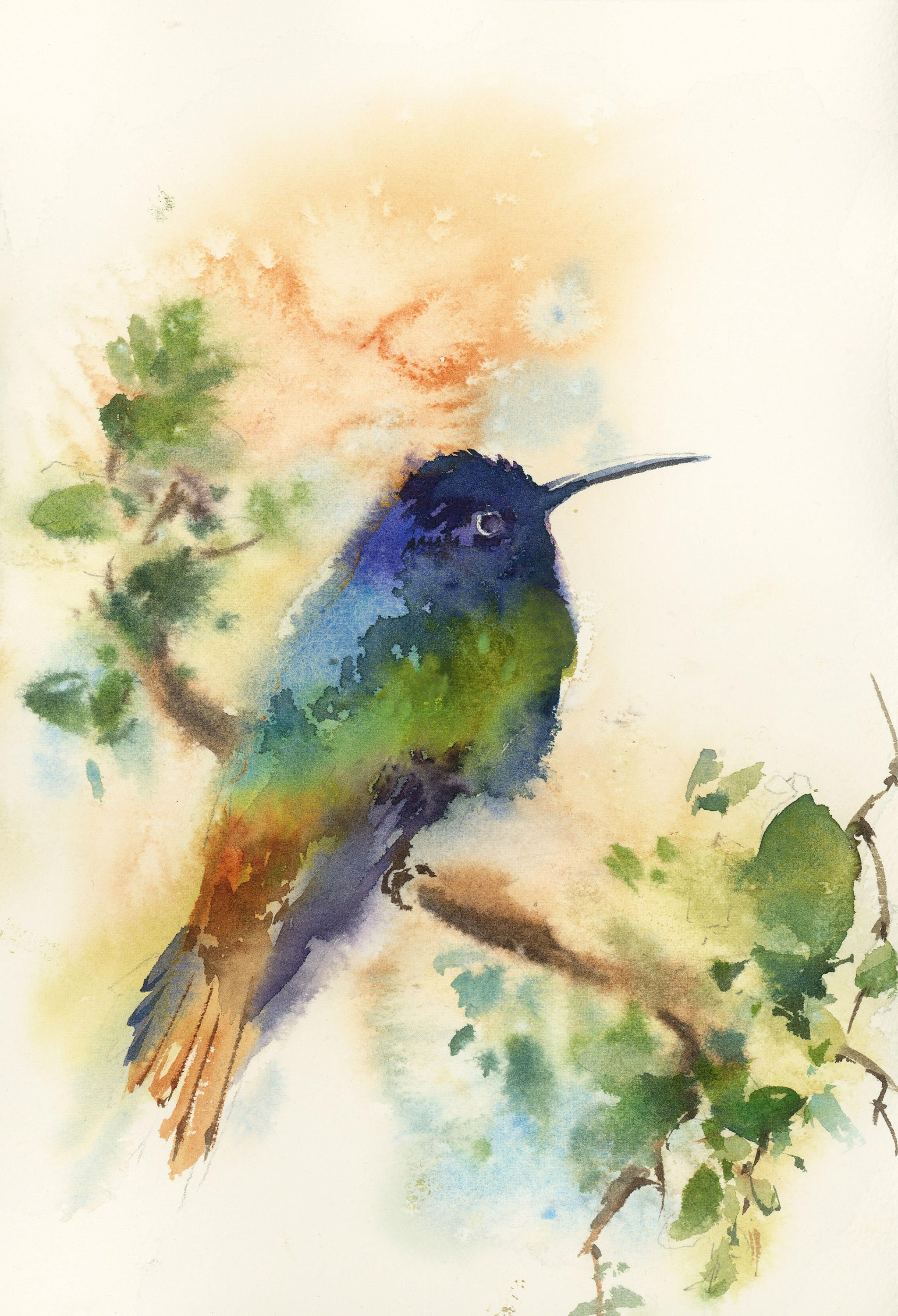 Hummingbird Painting, Original Watercolor Painting, painting of bird ...