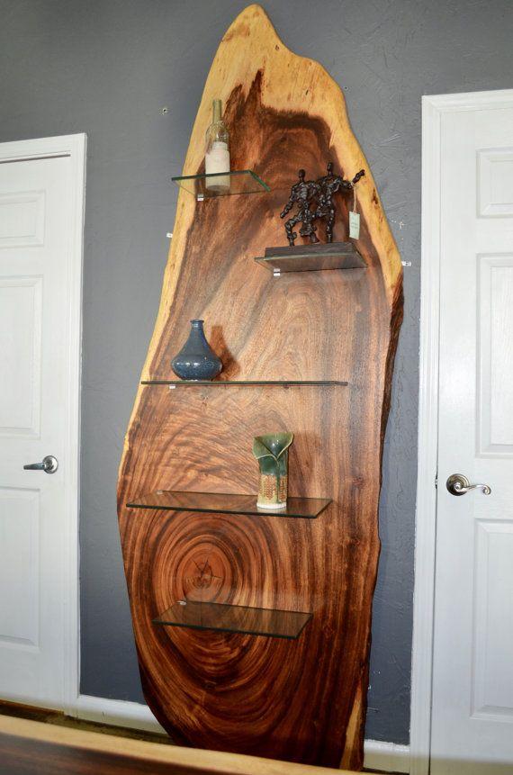 Modern Live Edge Acacia Wood Slab Bookshelf Or By