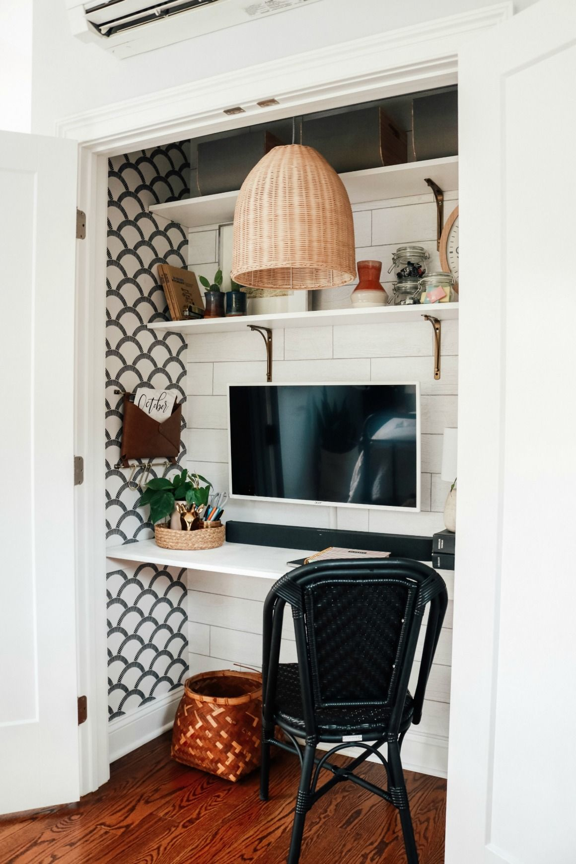 Cloffice Closet Turned Into An Office Small Space Hack Nesting With Grace Home Office Closet Home Office Decor Small Space Hacks