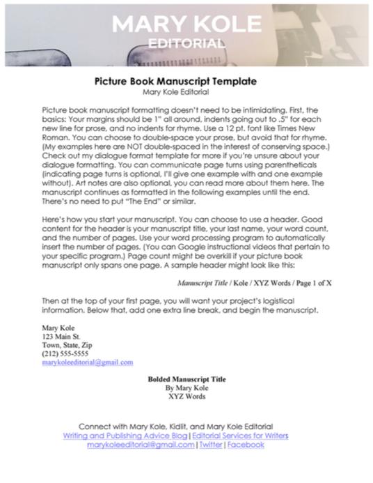 Picture Book Format Manuscript Template Childrens