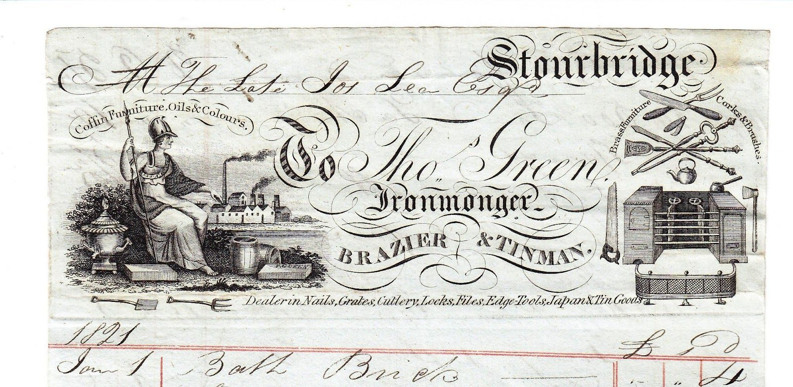 THE EPHEMERA OF BUSINESS: Newest editions to my collection - 1821 billhead Thomas Greene Ironmonger.