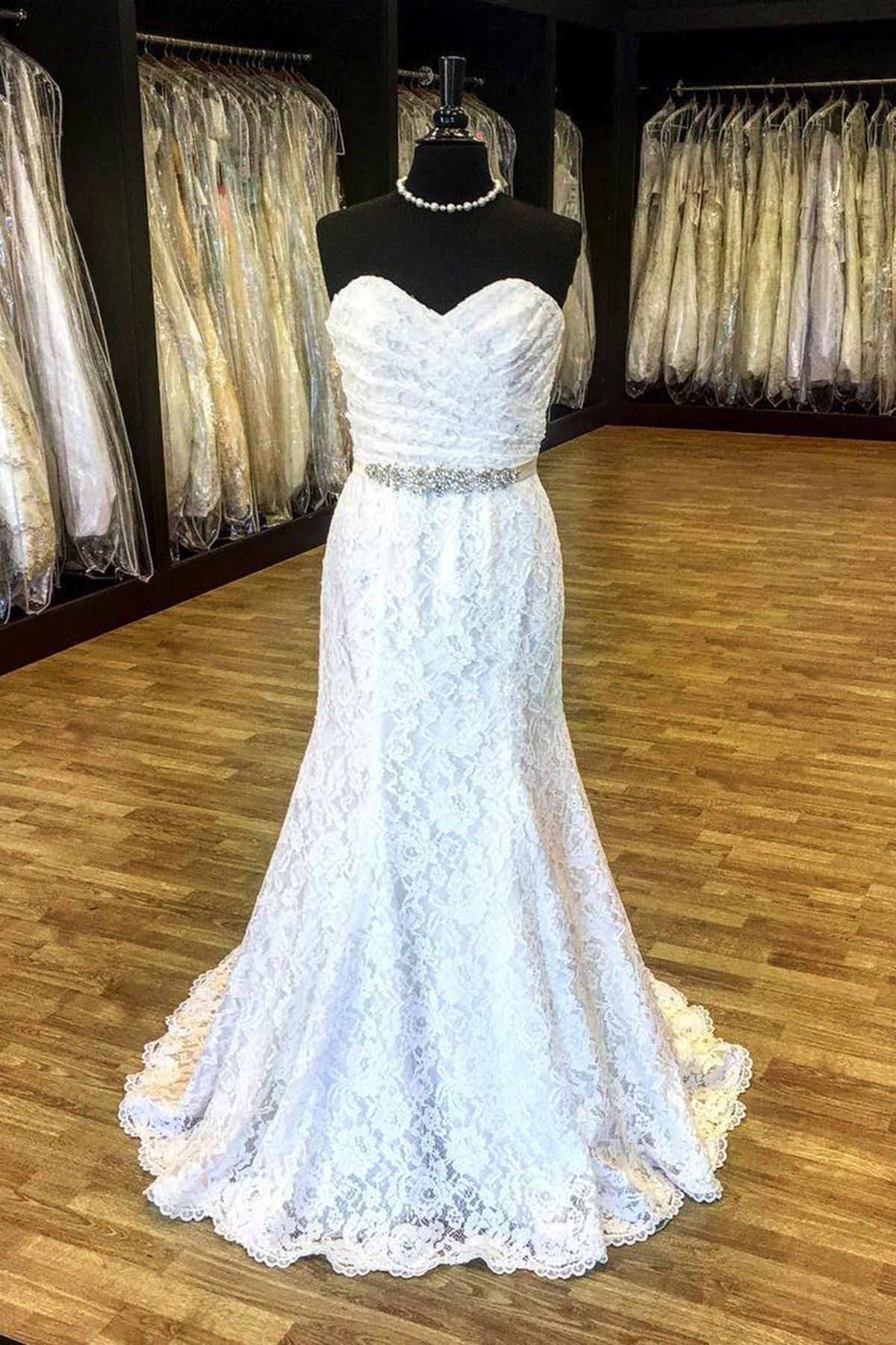 Gorgeous white lace strapless beaded long mermaid formal prom dress
