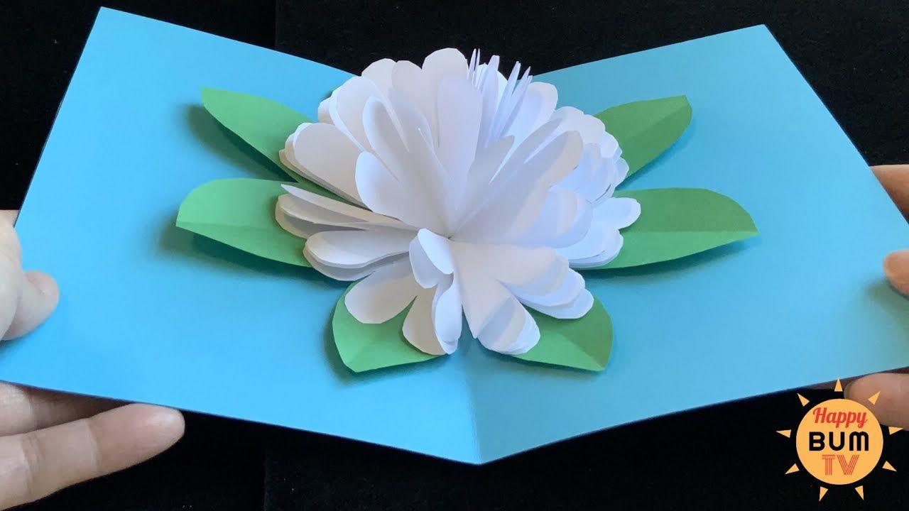 5 Minute Flower Pop Up Card I Easy Diy Paper Crafts Pop Up Flower Cards Diy Pop Up Cards Cards Diy Easy