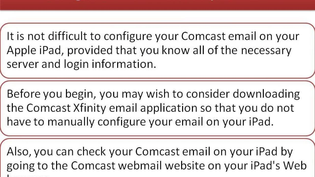 iPad Email Settings For Comcast 18555313731 Comcast