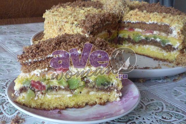 Торт с фруктами махровый: рецепт с фото бисквитного торта ...