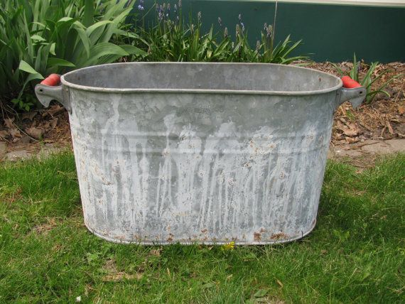 Large Vintage Galvanized Metal Oblong Bucket Tub Planter With Red