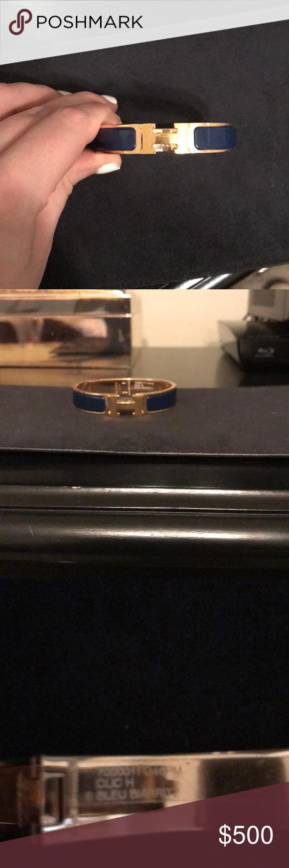 Hermès clic h bracelet in bleu biarritz in my posh picks