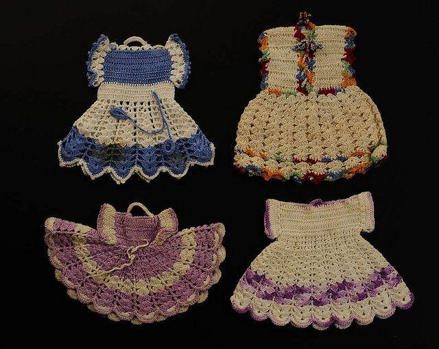 Crocheted potholder dresses