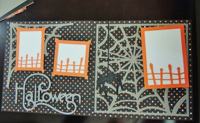 Cute Halloween layout using CTMH Spellbound paper and the Cricut Artbooking Cartridge! OMG I love this Cartridge!