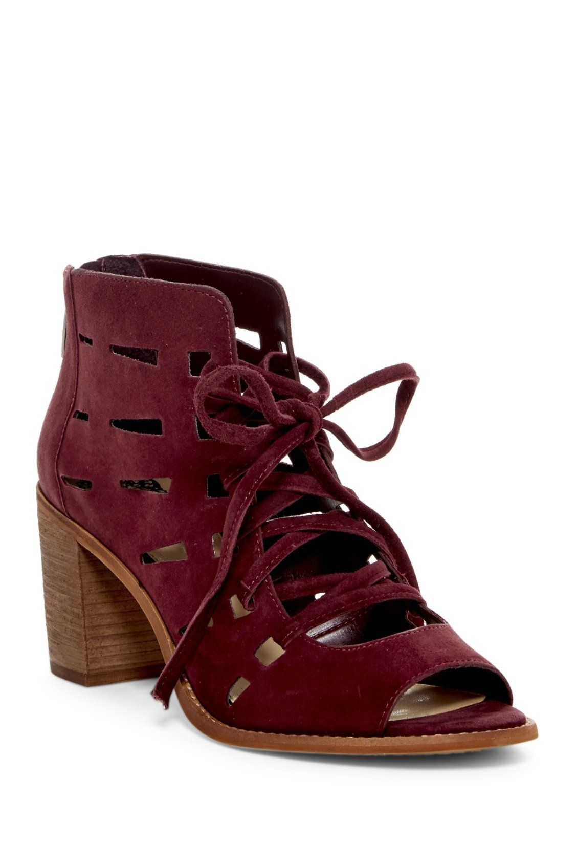 f73f2fe16e6 Burgundy Vince Camuto Tressa Perforated Leather Block Heel Sandals ...