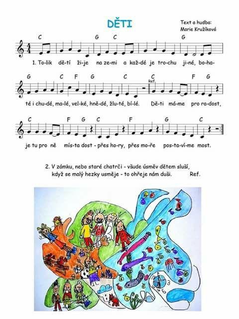 Pin by janka on pisnicky   Sheet music art, Kids songs, School work