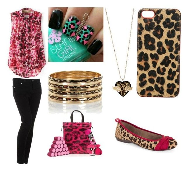 """Leopard Look"" by rita-semedo ❤ liked on Polyvore featuring JVL, Armani Jeans, DKNY, Lucky Brand, River Island, Betsey Johnson and Sleep In Rollers"