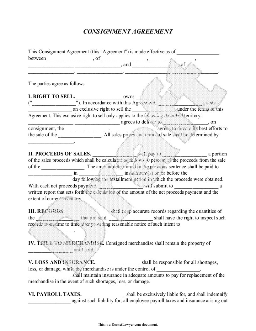 Sample Consignment Agreement Form Template  Pens