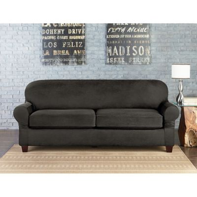 Sure Fit Vintage Faux Leather Individual Cushion 2 Seat Sofa Slipcover In Grey