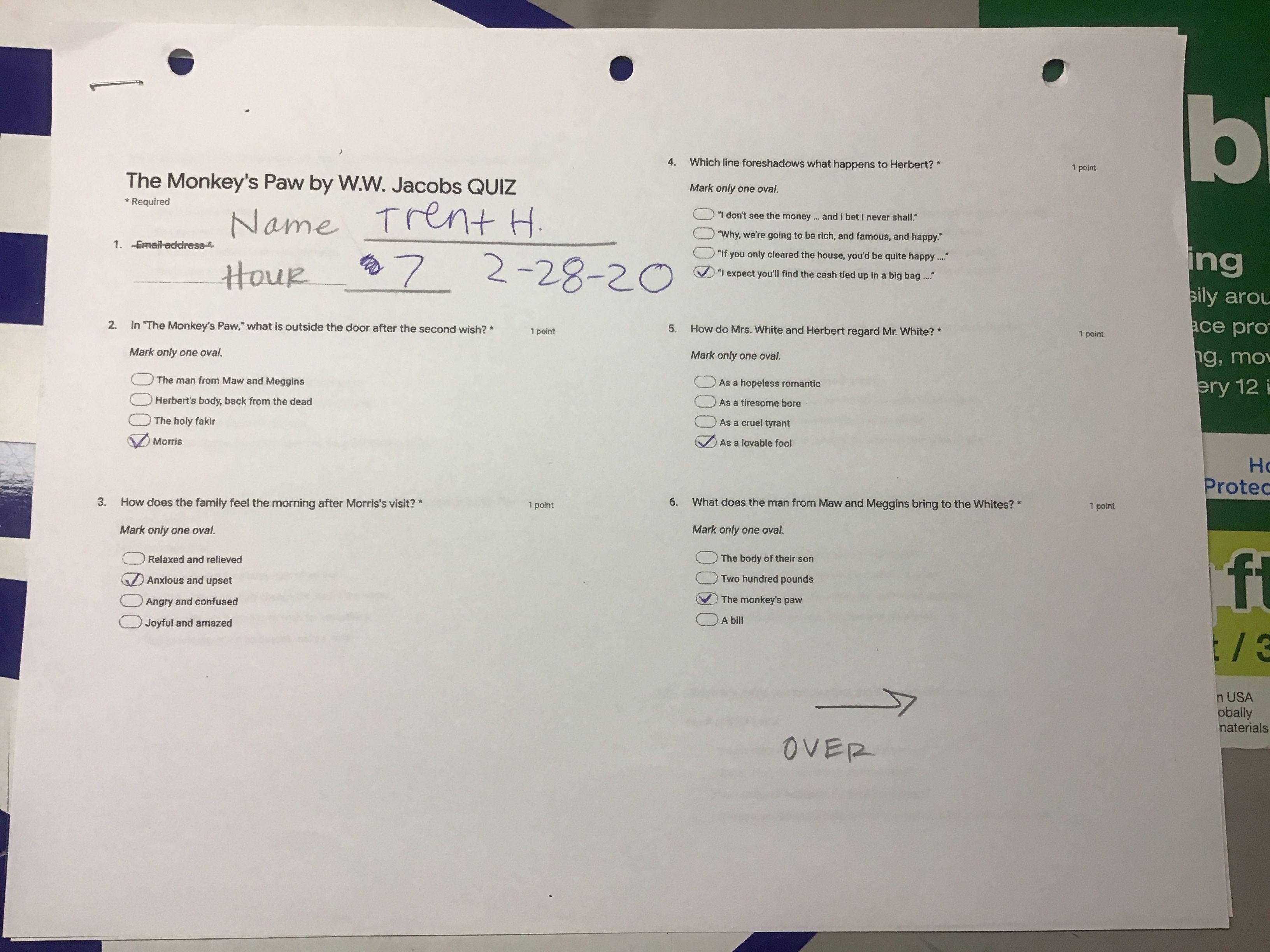 The Monkey S Paw By W W Jacobs Quiz Page 1 2 28 20 In
