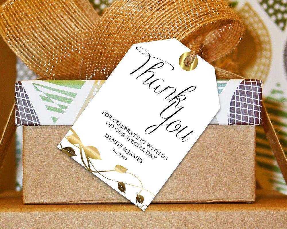 Thank You Tag, Wedding Thank You Tag, Gold Wedding, Wedding Favor ...
