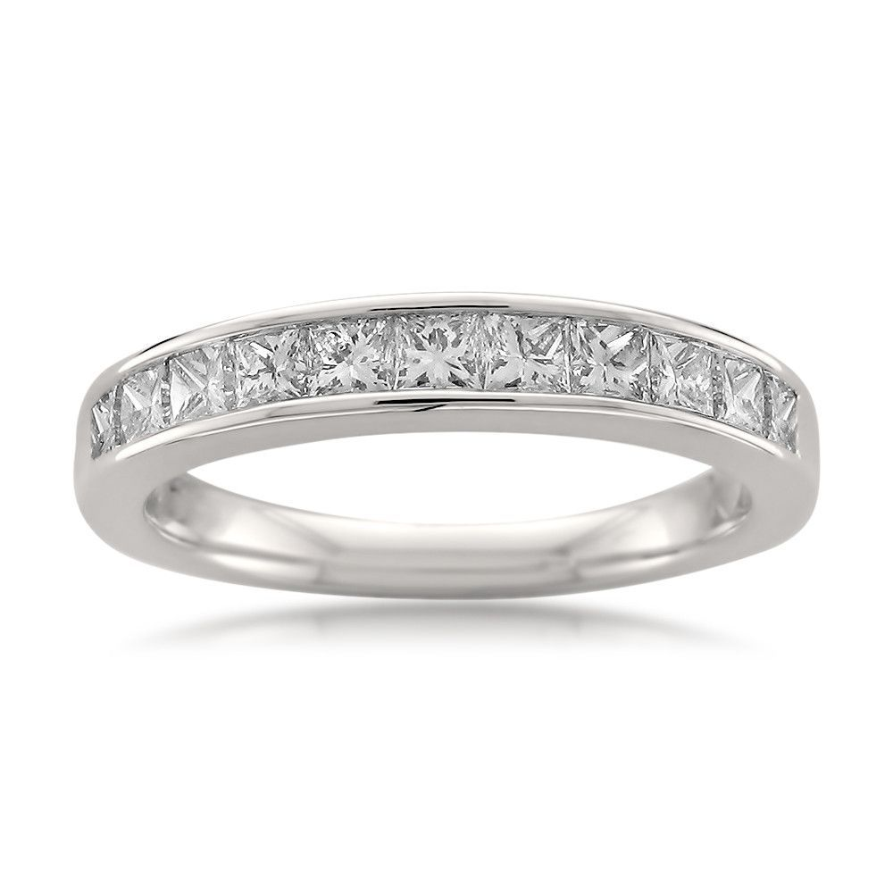 14k White Gold Princess-cut Diamond Wedding Band Ring (3/4
