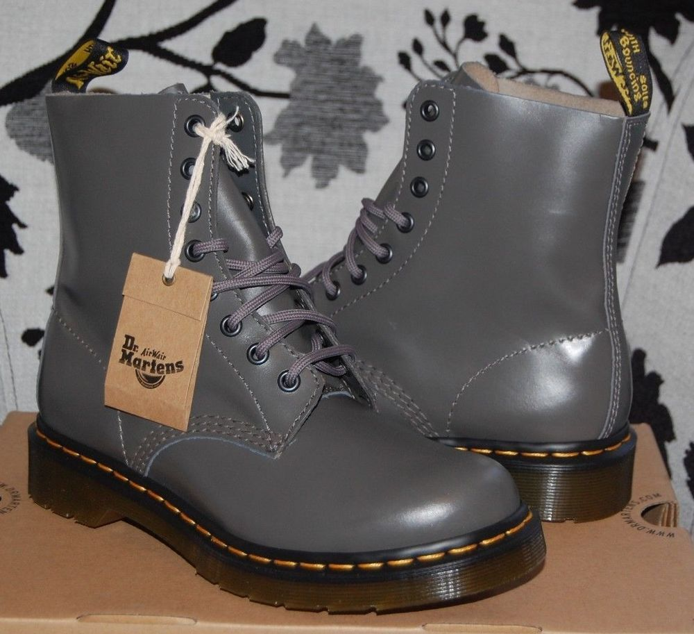 Official Website various styles world-wide free shipping NIB Dr Doc Martens Women's Pascal (1460) Grey/Gray Buttero ...