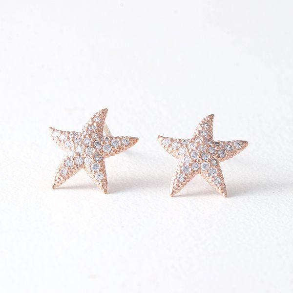 Swarovski Rose Gold Starfish Earrings Studs Starfish earrings