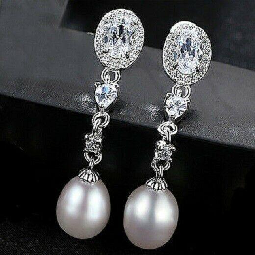 925 Sterling Silber Ohrringe Ohrhänger Süsswasser Perle Ohrschmuck Silberschmuc