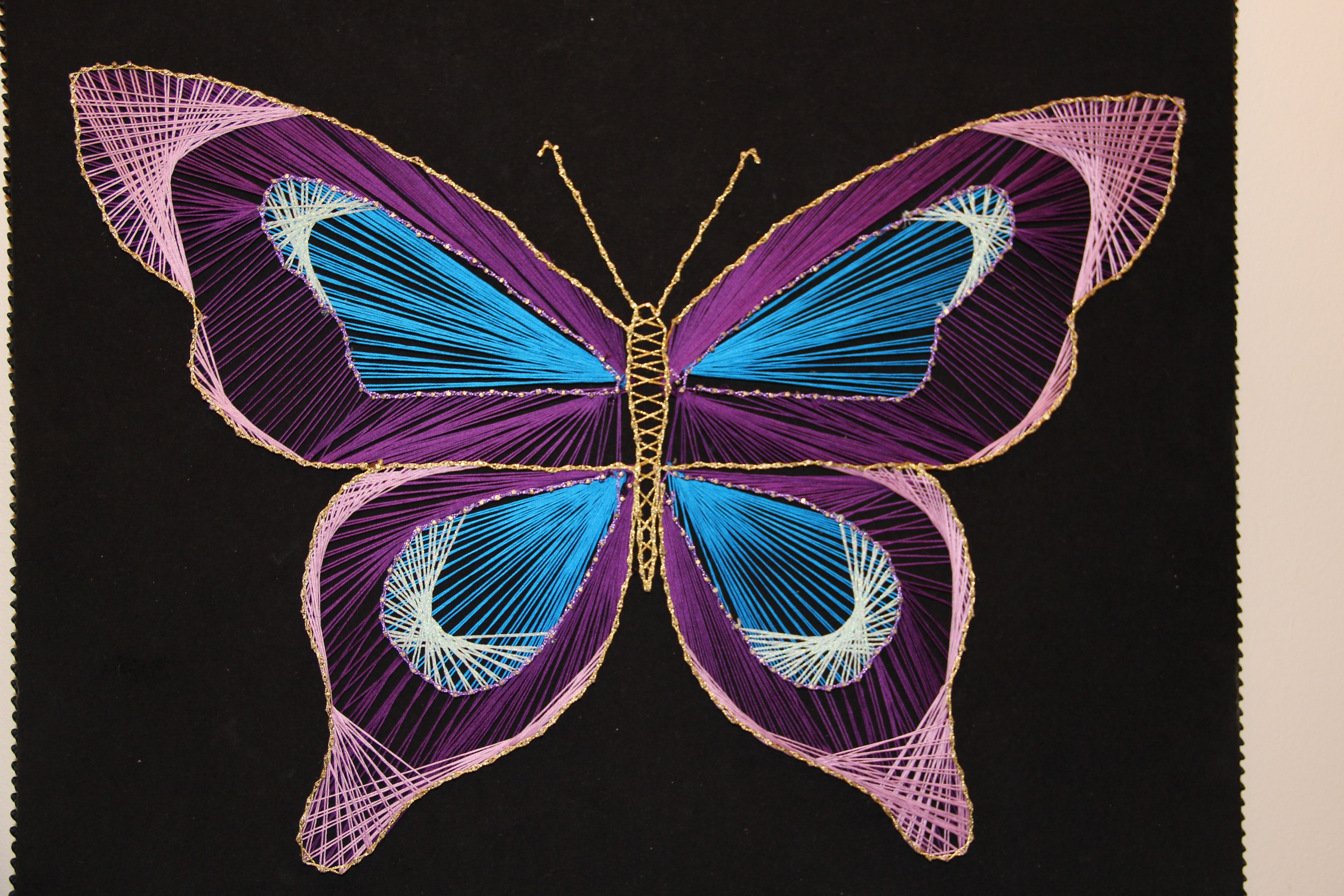 Butterfly string art string art butterfly and string for String craft patterns