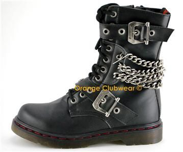 31e9cee06ad09e Demonia Disorder 204 Punk Gothic Womens Ankle Hi Chained Combat Goth Boots