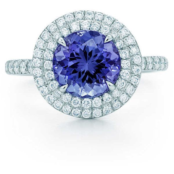 3278e42c6 Tiffany Soleste ring in platinum with a 1.25-carat tanzanite and... (11,615  CAD) ❤ liked on Polyvore featuring jewelry, rings, platinum diamond rings,  ...