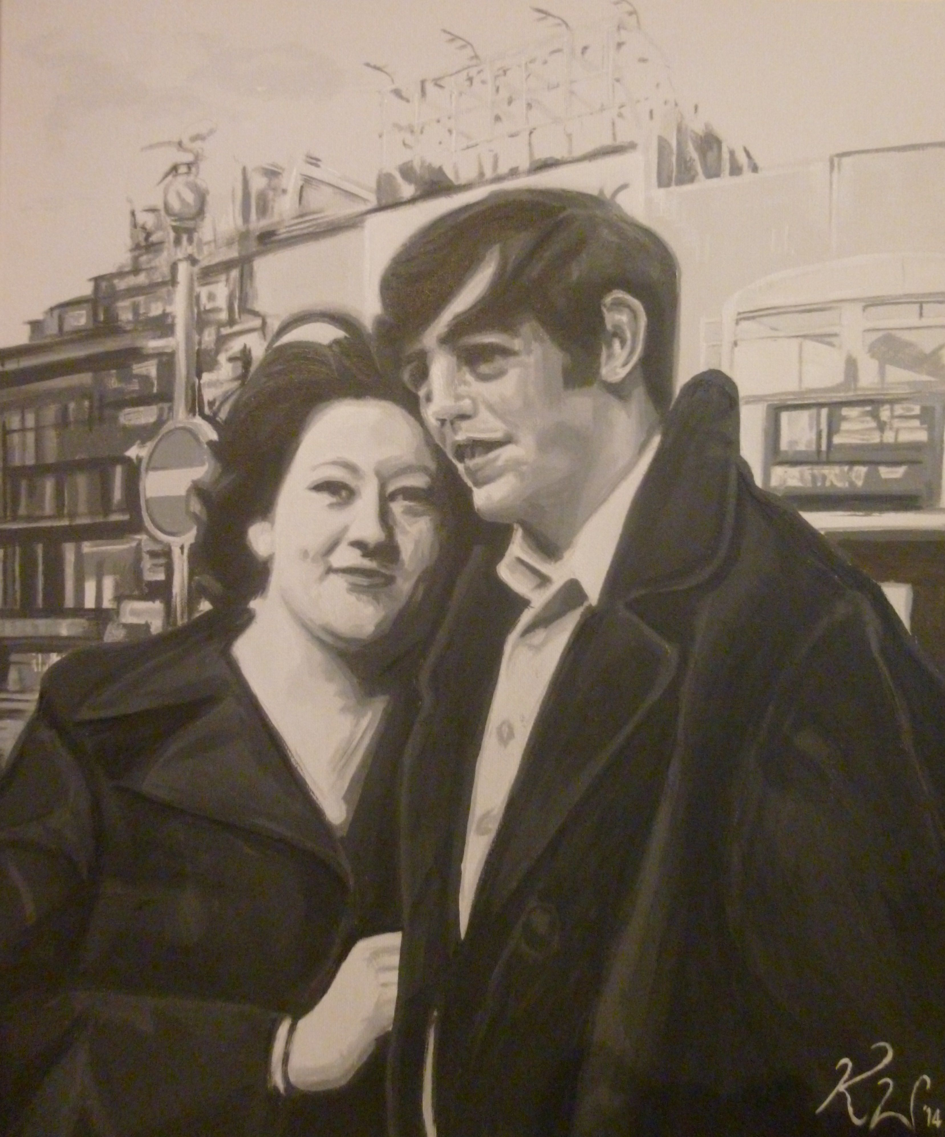 Ann & Dave.  A painting request from their daughter-in-law.  I painted this from a photograph of them both taken in London in the 60's.