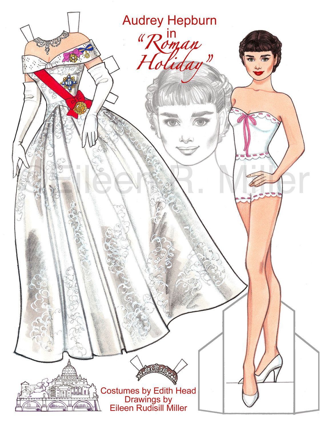 Audrey hepburn in roman holiday paper doll by for Audrey hepburn pictures to buy