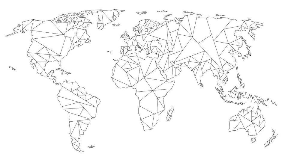carte du monde geometrique Carte du monde géométrique | Dessin linéaire | Noir sur blanc par