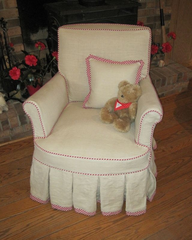 Slipcover For Semi Attached Back Club Chair In Linen And Contrast Welt. The  Cording