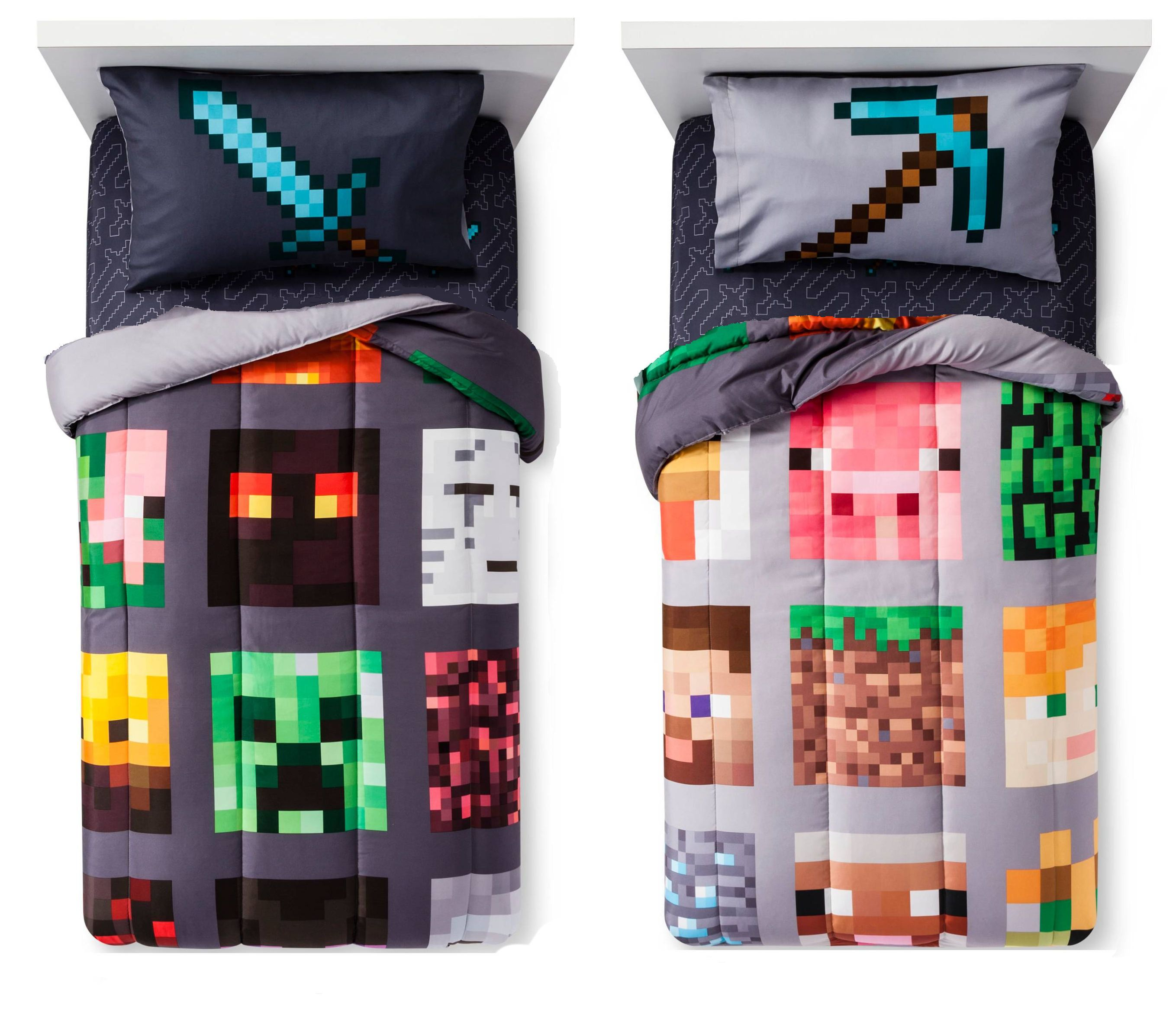 Minecraft 4 In 1 Bed A Bag Twin Or Full Comforter Sheet Set