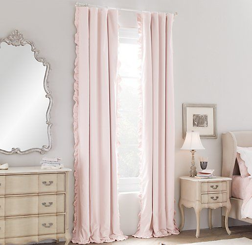 Washed Velvet Ruffle Drapery Panel Pink Curtains Drapery Panels