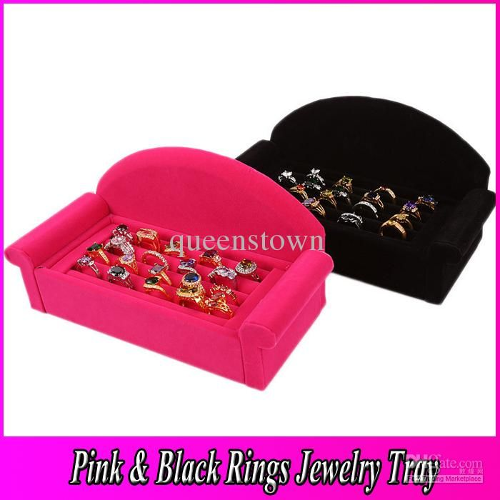 Wholesale Jewelry Box Tray For Rings High Quality Wood Ring Tray Box Pink And Black Frame Fancy Sofa Jewelry Display Tray Free Shipping JT008, Free shipping, $23.86/Piece | DHgate Mobile