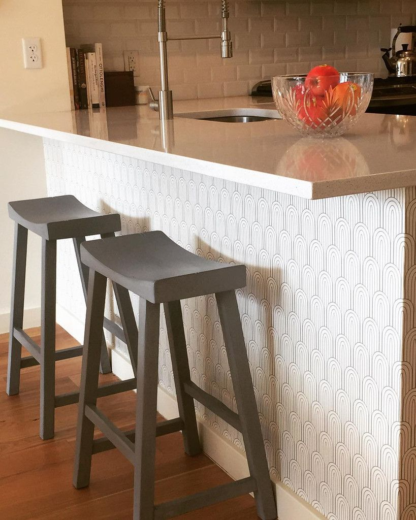 Kitchen Island Makeover Using Removable Wallpaper By Wallsneedlove