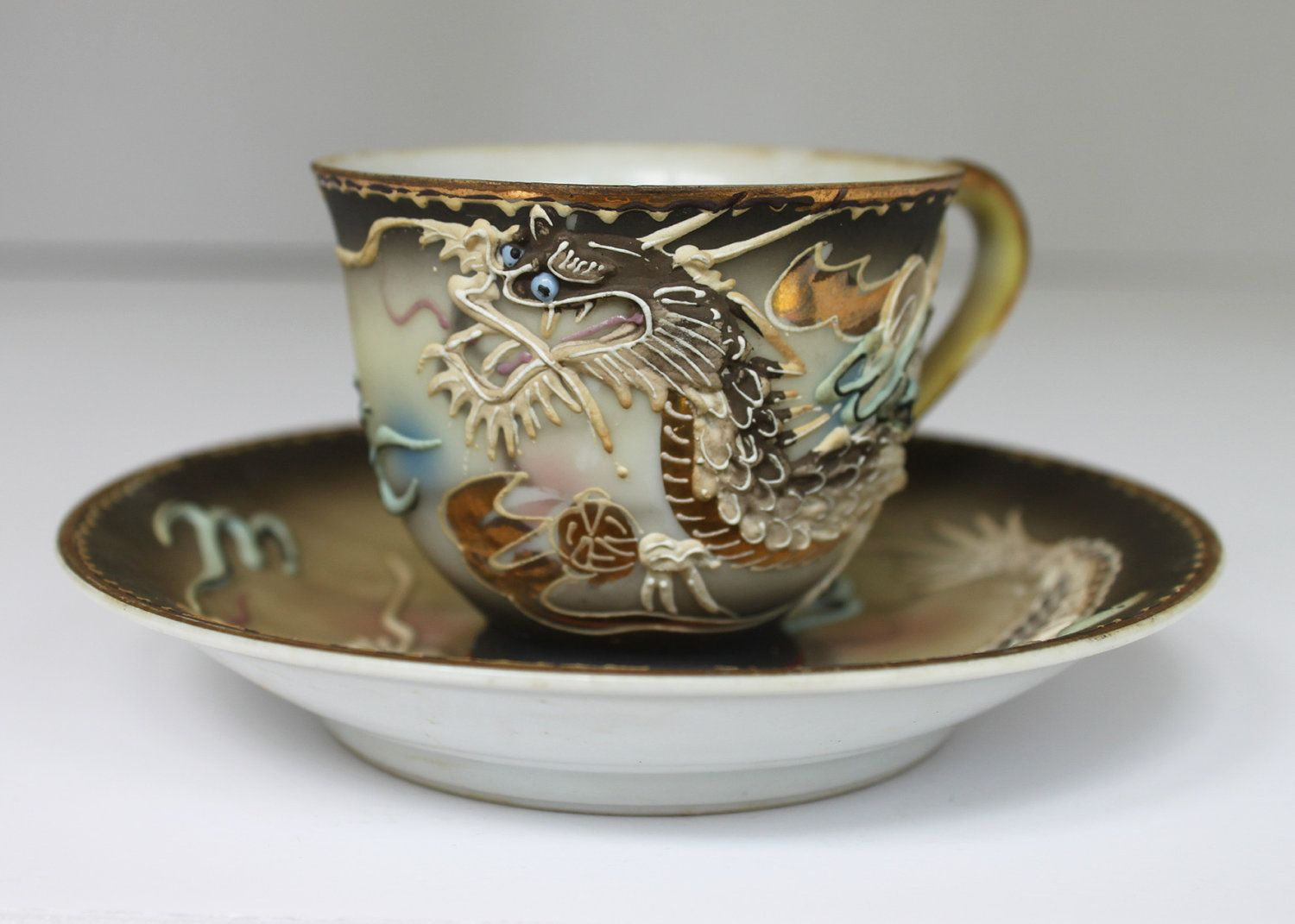Japanese Dragon Tea Cup And Saucer Set Hand Painted Wgold Accents