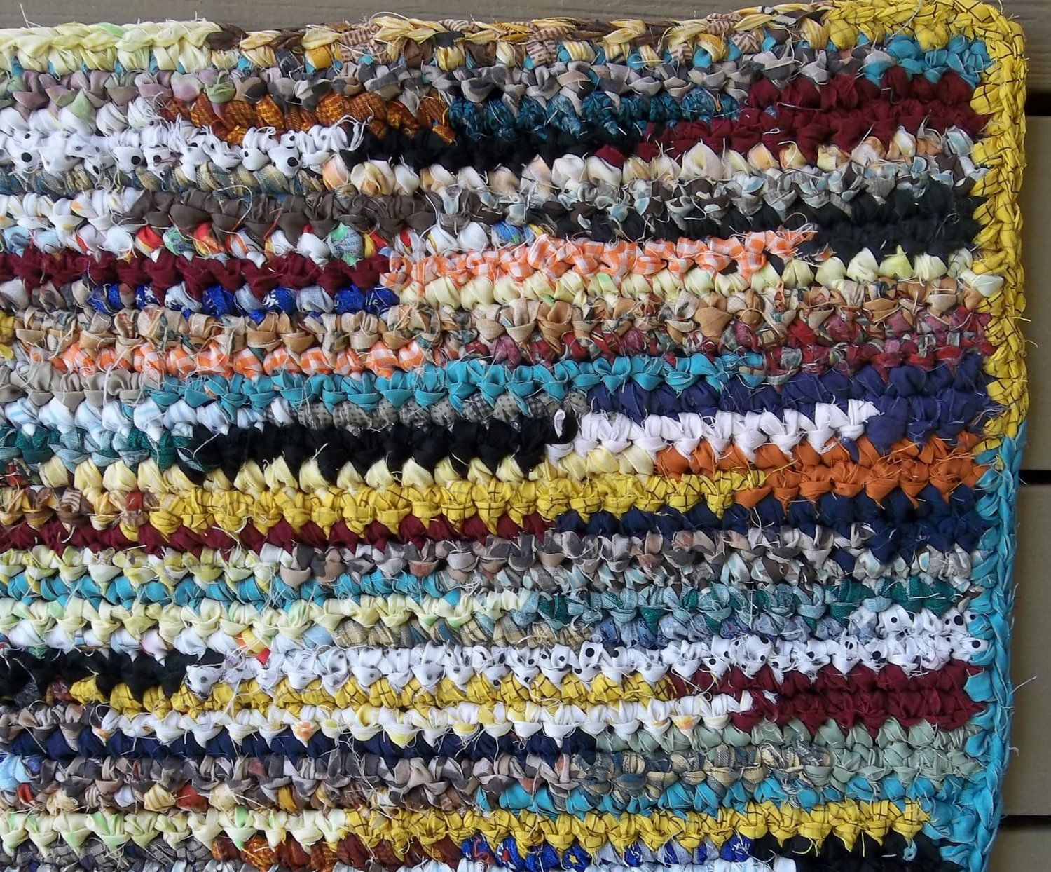 Crocheted Multi Colored Rag Rug Rectangle Floor And Rugs Home Living Handmade